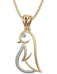 Silvernshine Fancy Bird Pendant In 14K Yellow Gold Fn 925 Silver 1.2 Ct White CZ Daimond