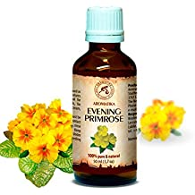 Evening Primrose Oil 50 ml 100 %, Primrose OIl - best Natural Moisturizer, great benefits for Skin, Nails, Lips, Hair, Face, Body, Scalp, uses as Pure Agent, an excellent with Essential Oil, Great for Beauty, Aromatherapy, SPA, Relaxation, Bath, Massage, Wellness, Glass Bottle, Oil Evening Primrose by AROMATIKA