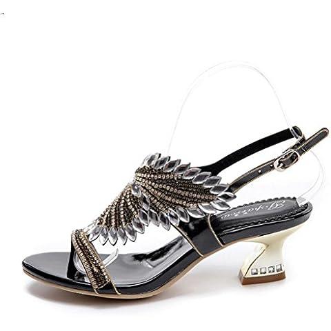 Ei&iLI Womens ladies strass a forma di fiori blocco basso tacco sandali peeptoe infradito scarpe da sposa sera ballo sandali , black , 33