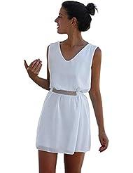 FEITONG Mujer Verano Gasa Casual Sin mangas Fiesta playa Cinturón Mini vestido corto (XL, Blanco)