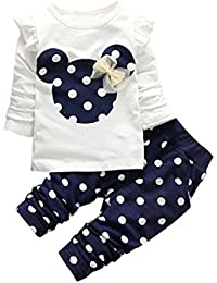 Jastore® 2pcs Minnie Kopf Outfit Set Herbst Frühling Bekleidungsset Nette Baby Kind Kleidung Langarm Shirt Tops Bluse + Hose Leggings für 3-8 Jähriges Mädchen