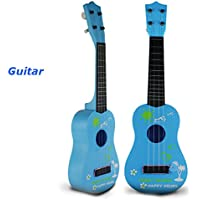 Bluelover Bambini simulazione chitarra giocattoli educativi 4 String acustico inerente allo sviluppo Musical Instruments - blu