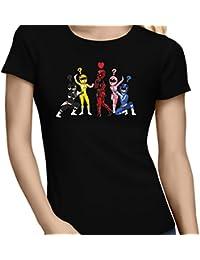 T-Shirt Comics - Parodie Power Rangers Vs Deadpool - Force Rouge !! - T-shirt Femme Noir - Haute Qualité (896)