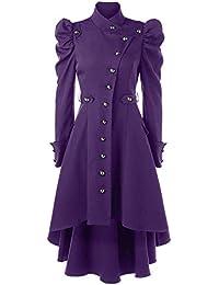 KPILP Herren Vintage Smoking Jacke Anzugjacke Gothic Steampunk Langarm Frack Stehkragen Mantel Gehrock Uniform Cosplay Kost/üm Party Druck Outwear Trenchcoats