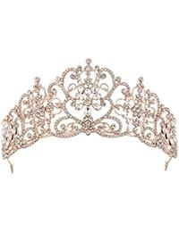 Oyfel Rhinestone Cristal decoración Diadema Clip Nupcial Tiara Cumpleaños  Boda Novia Corona Dainty Banda de Pelo 8a548bb193f3