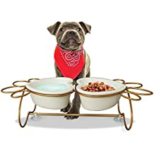 UMI. Essentials Elevated Cat Dog Bowls Raised Pet Feeder Set, Double Ceramic Bowl with Stainless Steel Stand