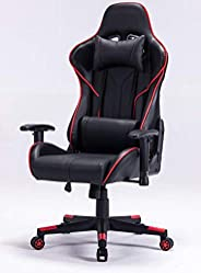 Computer Desk High-Back PU Leather Racing Style Office and Game Chair with Adjustable Hight with Headrest and Lumbar