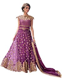 Shoppingover Women's Net Dress Material (14002ZY_Free Size_Purple)
