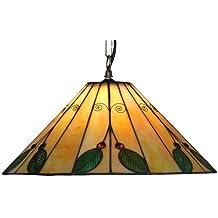 Oaks Lighting Leaf Tiffany - Lámpara de techo (40,5 cm), diseño de hojas