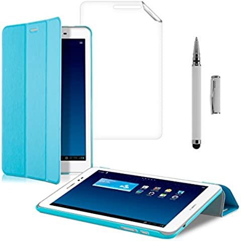 kwmobile 3en1:Slim Smart Cover Funda Carcasas para Huawei MediaPad T1 8.0 Honor T1 en azul claro + Lámina, transparente + Stylus, blanco