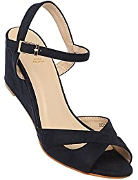 tresmode Womens Suede Casual Buckle Closure Wedge Sandals