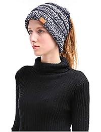 OPOOY Mujer Gorros con Coleta Caliente Gorro de Punto de Invierno Sombreros  de Invierno Knit Ponytail Beanie… ab0d1b9e9bf