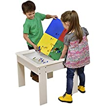 Liberty House Toys – Mesa de actividades con parte superior Reversible, madera), color blanco