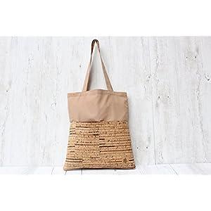 Shopper KORK sand & cognac (stripes)