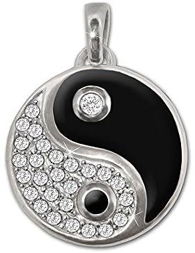 CLEVER SCHMUCK Silberner Anhänger Ø 14 mm Yin Yang mit vielen Zirkonias in weiß und teils schwarz lackiert STERLING...