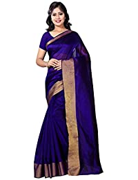 Vimalnath Women's Cotton Silk Saree (Sm10, Blue, Free Size)