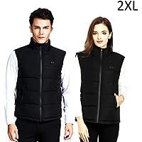 Jinclonder Intelligent Heated Vest, USB Charging Three de Speed Adjustment Temperature Clothes for Outdoor Sport, Color Negro, tamaño 2XL