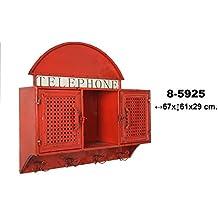 Estantería de pared con perchero color rojo 002