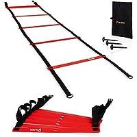 Via FORTIS Premium Training capo (6m)–Scaletta per allenamento, Calcio, Basket, Tennis e più–2x 3m Agility Ladder con antiscivolo Marcatori, Picchetti e tasche