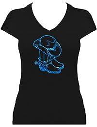 BlingelingShirts Premium Western Shirt Damen Cowboystiefel mit Cowboyhut Line Dance Shirt mit Glitzeraufdruck