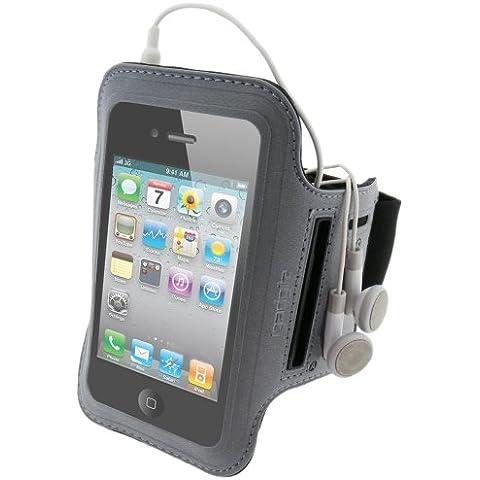 Igadgitz Negro Brazalete en Neopreno antideslizante Deporte Gymnasio Jogging para Apple iPhone 4 HD & 4S 16GB, 32GB &