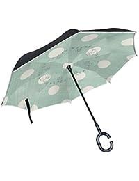 ALAZA Doble Capa invertido Paraguas Coches inversa Paraguas Retro Verde de la Raya con una Prueba Grande del Lunar de la Vendimia a…