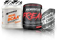 Bigmuscles Nutrition Workout Essentials Monthly Stack - 50 Servings (Real Bcaa -5g bcaa Intraworkout , Real Cr