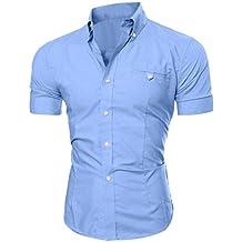 Herren Hemd T-shirt,Dasongff Herren Hemden Mode Luxus Business Stilvolle Slim Fit Kurzarm Freizeithemd Businesshemd Hemd Shirt Tops Sieben Farben Sommer