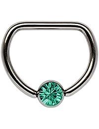 Piercing De Pecho Titanio anillo D 1,6 x 14 mm con 5 mm Bola de piedra en muchos Colores seleccionable