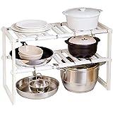 Kitchen Storage Rack Under Sink Organizer Storage Shelf Cabinet, Multi-Functional 2 Tier, Adjustable Stainless Steel