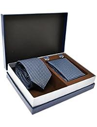 Corbata de hombre, Pañuelo y Gemelos de rayas Azul, 100 % Seda - Oxford Collection - (Caja de Regalo)