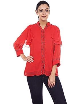 9teenagain Rojo Georgette señoras 3/4 de las mangas de la túnica superior ocasional - Tamaño disponible