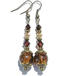 Vintage Style Antique Brass Cracked Glass Earrings w. Mocha & Brown Swarovski Crystals