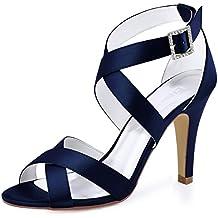 64946d9f4bb548 Elegantpark HP1705 Donna Peep Toe Stiletto Tacco A Spillo Sandali con  Cinturini Fibbia Satin Partito Scarpe