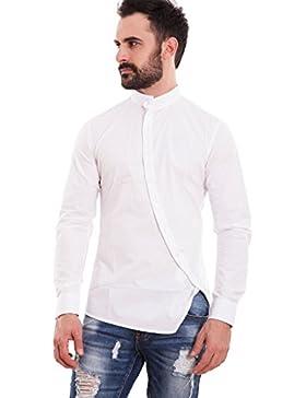 Toocool - Camicia uomo slim fit coreana bottoni trasversali obliqui aderente nuova 150233