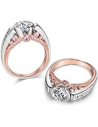 newshe 1,8Ct redondo creado rosa Sapphire blanco CZ 925plata de ley Declaración Anillo de bodas sz J 1/2A T 1/2