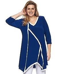 Cobalt-Blue Long Tunika Stretch - stylish der Besatz in weiss