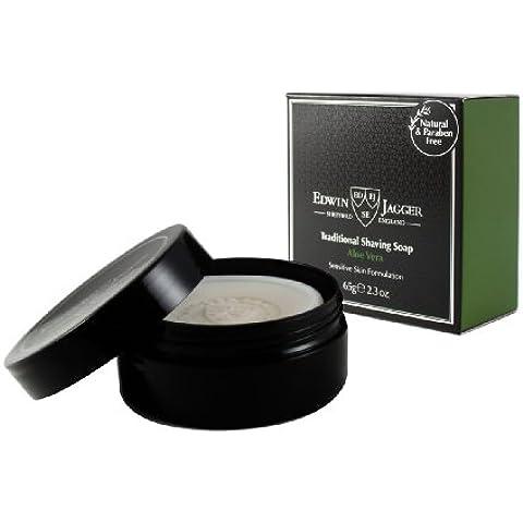 Edwin Jagger 99.9% Natural Shaving Soap (Aloe Vera) In 65G Travel Tub Ssavt