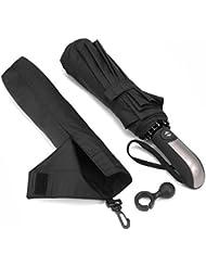 Regenschirm Taschenschirm, Bestico Winddicht Kompakt Regenschirm 210T Stof Teflon-Beschichtung, 10 Edelstahl-Rippen, Voll-automatischer Auf-Zu-Automatik Transportabel Schirm, 104cm (Schwarz)