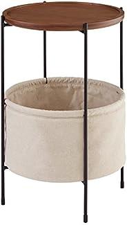 Marchio Amazon -Rivet, tavolinetto rotondo modello Meeks, con cestino, colore noce e tessuto colore crema