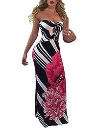 Vestidos Verano Mujer Vestidos De Fiesta Largos De Noche Elegantes Flores Impresa Sin Mangas Bandeau Slim