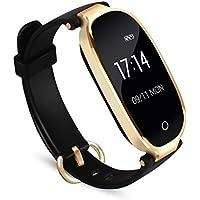 Herzfrequenz Fitnessarmband für Frau, Fitness Tracker mit Pulsmesser Bluetooth 4.0 Smart-Herzfrequenz Monitor Armband Schrittzähler Schlafanalyse Aktivitätstracker Kalorienzähler Schlaftracker, IPX7 Wasserdichte Aktivität Tracker für Android 4.4, iOS 8.0 oder höher Smartphones, von AGPTEK SW03B, Schwarz