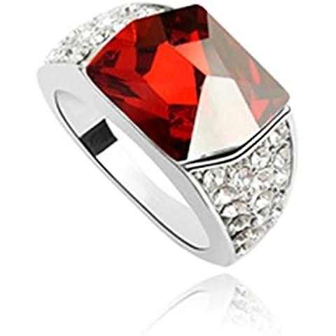 AieniD Anelli Donna Matrimonio Placcato Oro Zirconia Cubica Rosso Anelli Fidanzamento, 0.9CM
