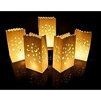 Paquete de 10 bolsas de papel para poner velas en su interior, diseño de estrellas y luna, bolsa para velas