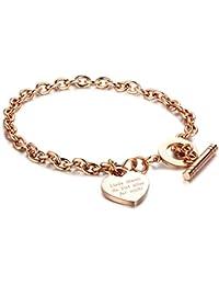e13f4a2fe5c7 Gkmamrg Día de la Madre regalo mujer colgante de corazón pulsera de acero  inoxidable Rose oro