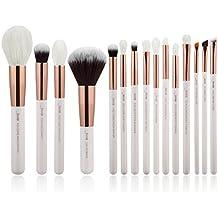 Jessup 15pcs blanco perla/oro rosa profesional juego de pinceles de maquillaje Make Up Kit de herramientas de brocha para base de maquillaje en polvo pincel Shader Liner T222
