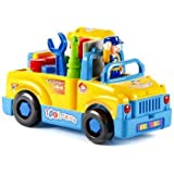 HALO NATION® Tool Truck Toy With 360 Degree Motion - Functioning Electric Drill, Catchy Music And Flashing Lights - Make Your On Truck - Learning Toy For Kids
