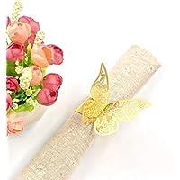 JZK® 50 x anillos de servilleta, Metal-gusta oro mariposa Papel nacarado conjunto de servilletas para el banquete de la boda fiesta de bienvenida al bebé comunión cumpleaños navidad cena de año nuevo anillos de servilleta