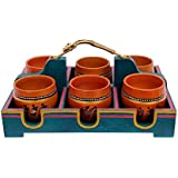 Ethnic Wooden Tray With 6 Kullads And Dhokra Woman Handle