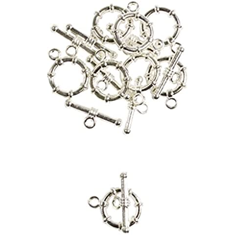 Chiusure a T-barra per collane bracciali pendenti placcate argento minuterie per gioielli di Curtzy TM - Vita Pendente Del Cerchio